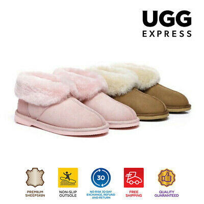 AU50 • Buy EVER UGG Ladies Mallow Ankle Slippers/Scuffs, Premium Australian Sheepskin