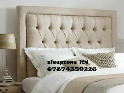 TOP QUALITY  LUXURY SPECIAL Button BW BED HEADBOARD IN TURIN FABRIC 30  TALL   • 75.99£