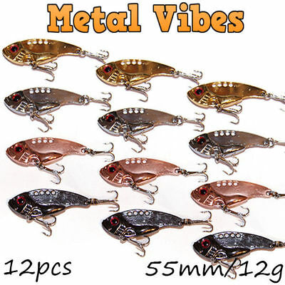 AU19.95 • Buy 12x Metal Vibe Blade Fishing Lures Vibes 55mm 11g Bream Bass Flathead Tackle GT