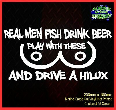 AU6.90 • Buy HILUX Stickers Funny BNS 4x4 Dual Cab Ute Car For Toyota REAL MEN FISH 200mm
