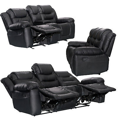 XeoHome RECLINER SOFAS FABRIC 3+2+1 BLACK BROWN 3 PIECE SUITE SOFA COUCH SALE • 824£