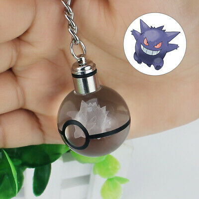 Crystal Ball Pokemon Pokeball Gengar 3D LED Night Light Key Ring Creative Gift • 10.99£