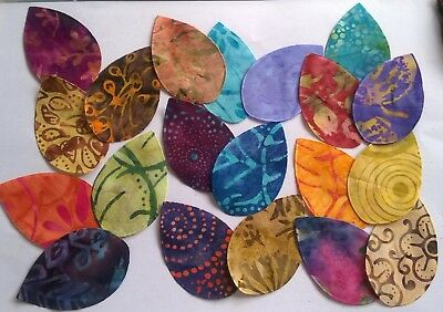Batik Leaves Fabric Scraps Pack Remnants Patchwork Bundles 100% Cotton - Set 2 • 2.67£