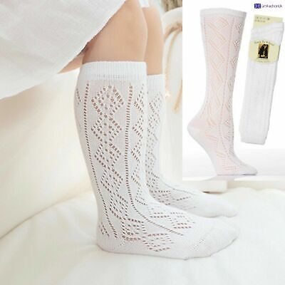 New 1-6 Pairs Girls White Pelerines Socks Long Back To School Knee High Pelerine • 6.99£