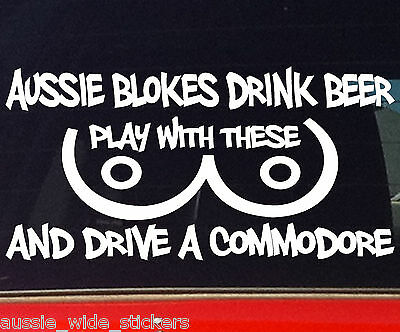 AU6.90 • Buy AUSSIE BLOKES COMMODORE Car Ute Wagon Funny Rude Beer Stickers 200mm