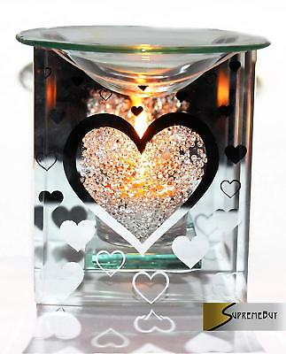 Glass Heart Fragrance Oil Burner Yankee Candle Wax Tart Warmer Tealight Holder • 11.97£