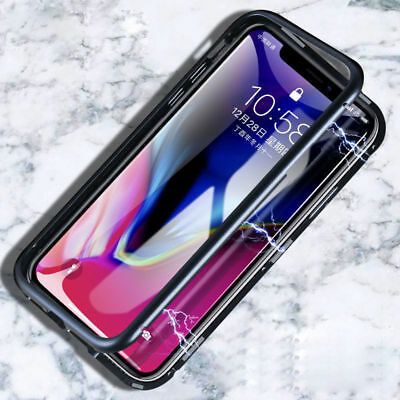 AU17.54 • Buy Luxury Magnetic Metal Frame Tempered Glass Back Cover Case For IPhone X 7 8 Plus