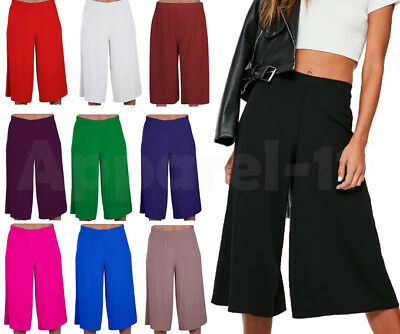 £7.45 • Buy Ladies Women's Elasticated Stretch Wide Leg Culottes 3/4th Length Plus Size 8-26