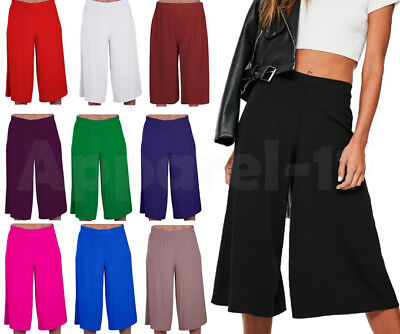 Ladies Women's Elasticated Stretch Wide Leg Culottes 3/4th Length Plus Size 8-26 • 7.45£