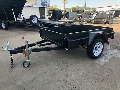 AU1520 • Buy 7x4 Heavy Duty Box Trailer Checkerplate Floor 12  Sides, Drop Front | Townsville