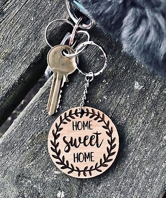 Wooden Oak Keyring Gift Birthday House First Home Sweet Home Xmas • 2.99£