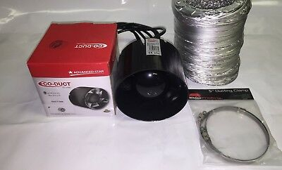 5  Inch 125mm Inline Extractor Intake Grow Room Fan 3M Ducting & 2 Ducting Clips • 35£