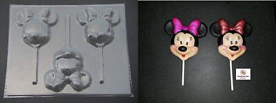 MINNIE MOUSE Large Face Head Chocolate Candy Lollipop Soap Mold • 4.46£
