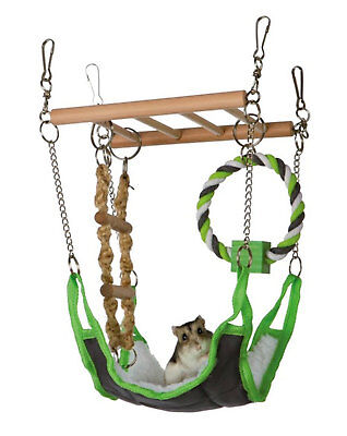 Trixie Small Pet Suspension Bridge Toy Chew Soft Hammock Wooden Hamster Gerbil • 10.70£