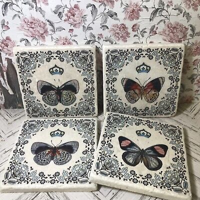 £16 • Buy Butterfly Stone Coasters Shabby Chic Butterflies