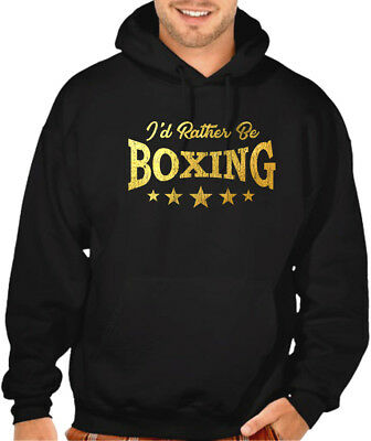 $25.99 • Buy Men's Gold Foil I'd Rather Be Boxing Black Hoodie Sweater MMA Fighting Gloves