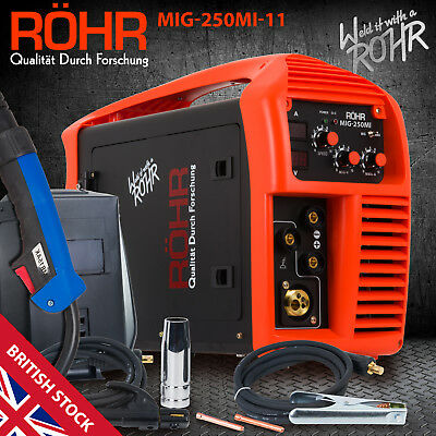 MIG Welder Inverter Gas / Gasless MMA 3in1 IGBT 240V 250 Amp DC Machine, ROHR 11 • 329.99£