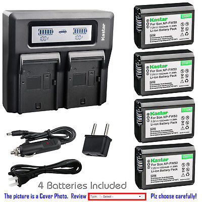 $ CDN47.99 • Buy Kastar Battery LCD Dual Fast Charger For Sony NP-FW50 TRW ILCE-6000 Alpha A6000