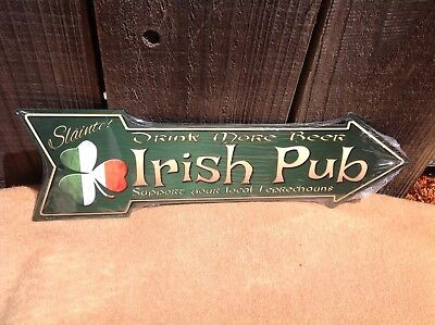 Slainte Irish Pub Beer This Way To Arrow Sign Directional Novelty Metal 17  X 5  • 13.95$