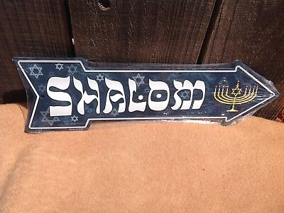 Shalom Hannukkah This Way To Arrow Sign Directional Novelty Metal 17  X 5  • 13.95$
