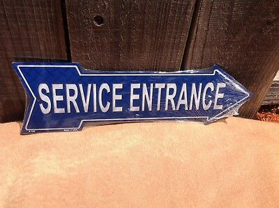 Service Entrance This Way To Arrow Sign Directional Novelty Metal 17  X 5  • 13.95$