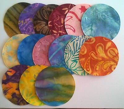 Batik Circles Large Fabric Pack Remnants Patchwork Bundle 100%cotton • 2.96£