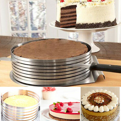 £6.89 • Buy Stainless Steel Layer Cake Slicer Kit Mousse Slicing Setting Ring Round UK Sell