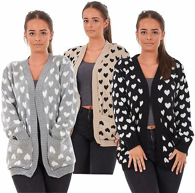 £11.95 • Buy New Ladies Heart Knitted Cardigan Pockets Long Sleeve Regular Big Sizes S To 3XL