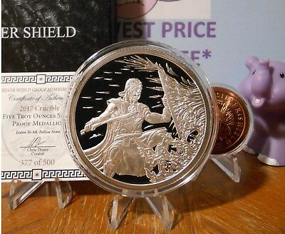 $ CDN499.99 • Buy 5oz 2017 Crucible Proof+COA+BOX Mighty 300 Warrior Silver Shield FREE CU