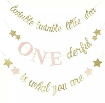 AU16.95 • Buy 1st Birthday Twinkle Twinkle Little Star Onederful Glitter Bunting Girl First