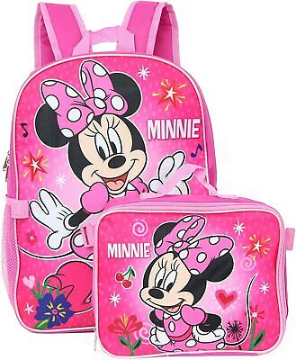 $19.99 • Buy Disney Minnie Mouse Girls School Backpack Lunch Box Book Bag SET Bow Pink Kids