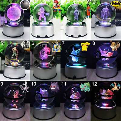 Pokemon DRAGON BALL Z Star Wars 3D Crystal LED Night Light Table Lamp Xmas Gift • 33.53£