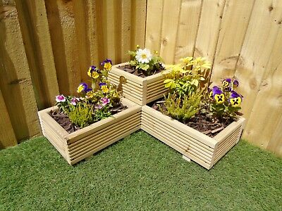 Corner Garden Wooden Decking Planter Plant Pot - Steps Herb Flower Timber Patio • 34.99£