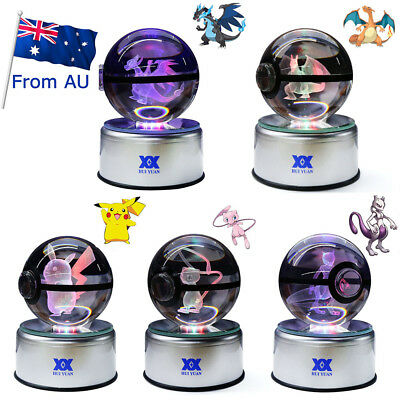 3D Crystal Pokemon Charizard Ball Table Lamp Colors LED Bedroom Night Light Gift • 27.99£