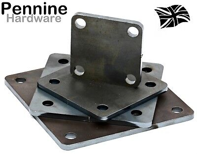 £4.29 • Buy MILD STEEL Square 6mm FIXING PLATE 75, 100, 125 & 150 Mm  Laser Cut 4 Holes