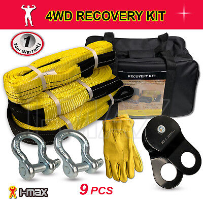AU129.90 • Buy Recovery Kit 4WD 4X4 Winch Snatch Straps Bow Shackles Pulley Block 9PCS