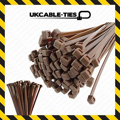 Brown Cable Ties Extra Strong Heavy Duty Nylon Zip Tie Wraps • 2.79£