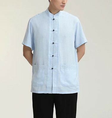 New Chinese Oriental Mens Kung Flax And Cotton Sky Blue Top Short Shirt Cmssh22 • 19.99£