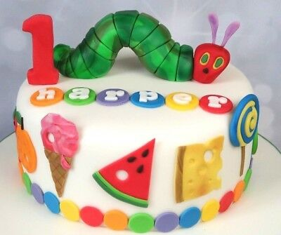 THE VERY HUNGRY CATERPILLAR CAKE TOPPER SET Edible Personalised Figure Bug LARGE • 28.95£