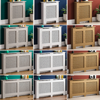 Oxford Radiator Cover White Unfinished Traditional Wood Cross Grill Heat Guard • 30.90£
