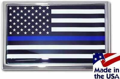 Police Thin Blue Line Black And White American Flag Car Emblem MADE IN THE USA! • 13.71£