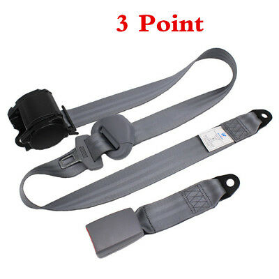 $ CDN49.94 • Buy Set Gray Car Auto Vehicle Adjustable Retractable 3 Point Safety Seat Belt Straps