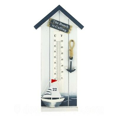 £13.95 • Buy Wall Nautical Beach Hut Style Thermometer With Boat & Anchor - 1st Class Post!