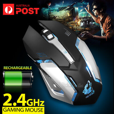 AU17.49 • Buy New 2.4GHz Wireless Rechargeable USB Optical Ergonomic LED Light Gaming Mouse AU
