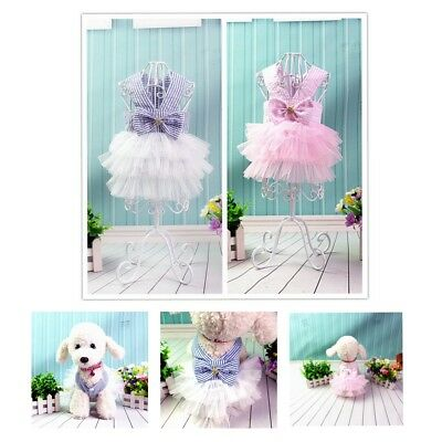Pink Dog Dress Harness Small Dog Dresses Chihuahua Clothes Pet Puppy Cat Skirt • 4.09£