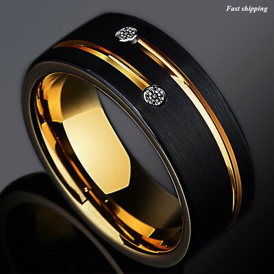 $24.99 • Buy 8mm Black Brushed Tungsten Ring Gold Grooved Line Diamond ATOP Men Wedding Band