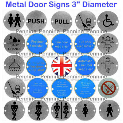 BRUSHED Stainless Steel DOOR SIGNS 75mm Ø Male Female Disabled Unisex Fire Door • 2.19£