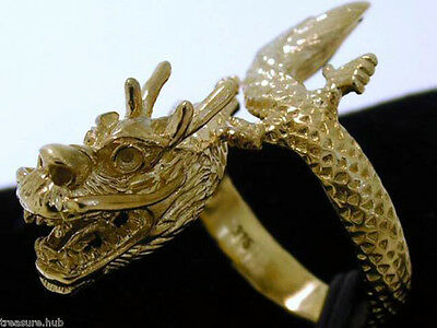 AU826.57 • Buy SR02- Genuine 9ct Yellow Gold DETAILED Zodiac DRAGON Ring Mens Detailed