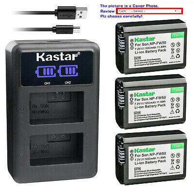 $ CDN31.46 • Buy Kastar Battery LCD Dual Charger For Sony NP-FW50 BC-VW1 & ILCE-6000 Alpha A6000