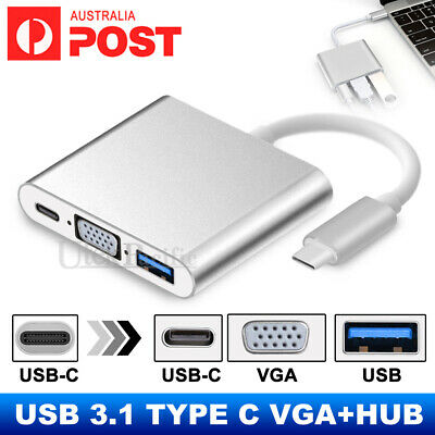AU15.99 • Buy USB 3.1 Type C To VGA USB 3.0 USB-C Multiport Charging HUB Converter Adapter AU